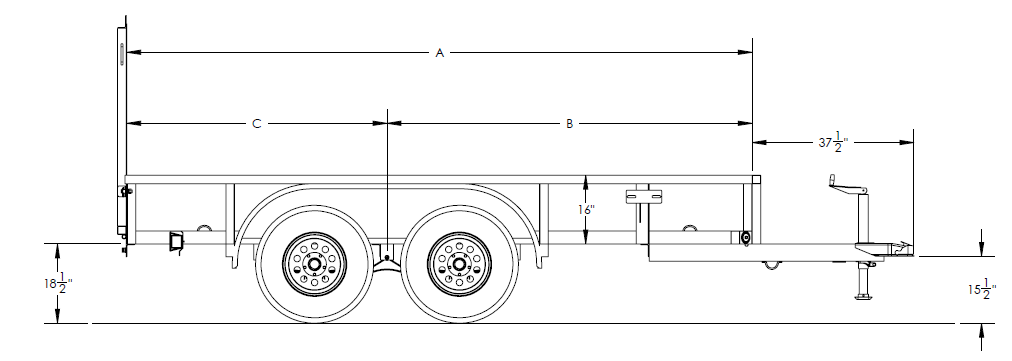 Economy Tandem Axle Pipe Top Utility Trailer