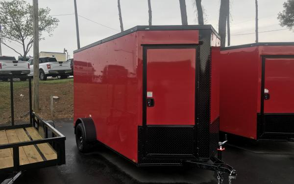6x12 Single axle extra tall -Red Blackout