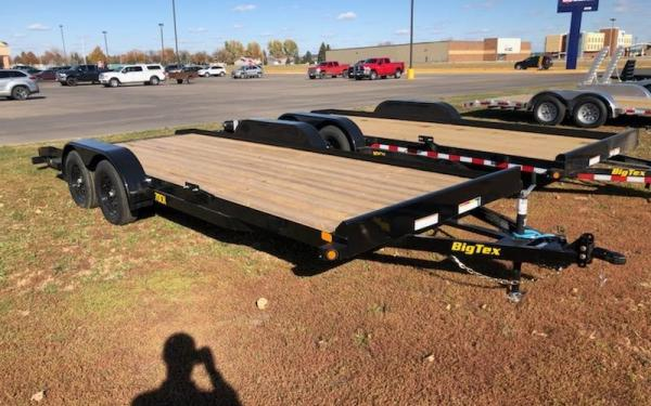 BIG TEX 70CH 7X20 OPEN CAR HAULER TRAILER W/SLIDE-IN-RAMPS