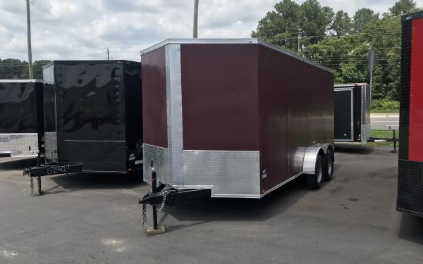 7x16 Enclosed Cargo Trailer - Burgandy