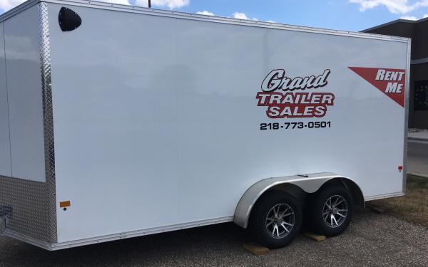 """RENTAL 7X16+24"""" ENCLOSED CARGO TRAILER W/RAMP DOOR $90/DAY"""