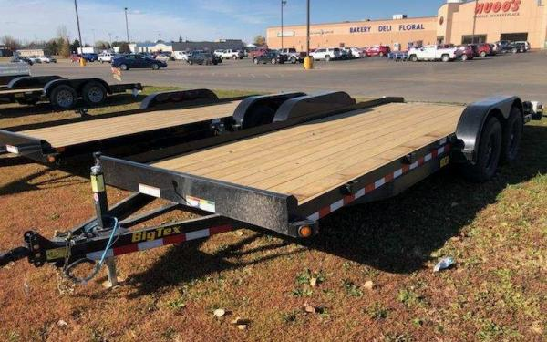 BIG TEX 10CH 7X20 OPEN CAR HAULER TRAILER W/SLIDE-IN-RAMPS