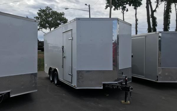 "8.5x16 Enclosed Trailer - White 6'6"" interior height"
