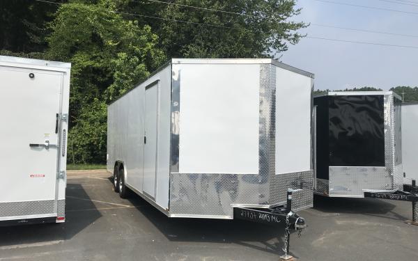 8.5x24 White Enclosed Trailer - 5200lb axles