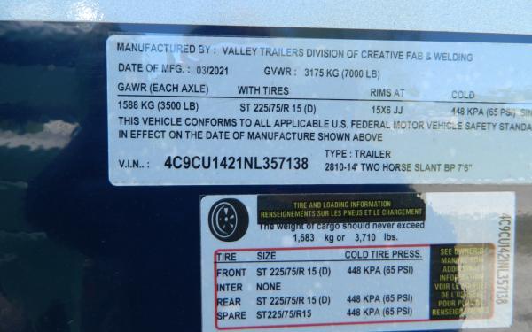 """2022 6'8""""X14' VALLEY HORSE TRAILER  357138"""