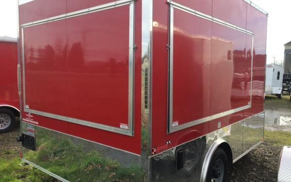 Cargo Mate 8' x 12' Red Concession Trailer Wedge Front with 2 Concession Windows